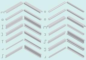 Vectores isométricos del haz de acero