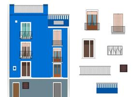 Vector Blue Building in Spain