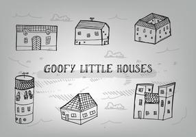 Free Hand gezeichnet Goofy Häuser Vektor Hintergrund
