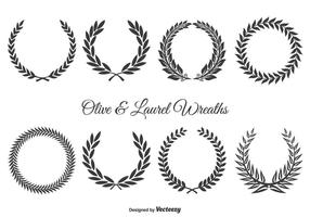 Juego de coronas de oliva y laurel