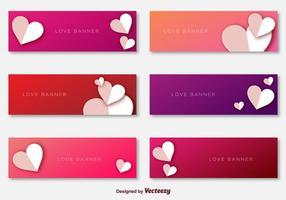 Vecteurs de modèles de bannières d'amour