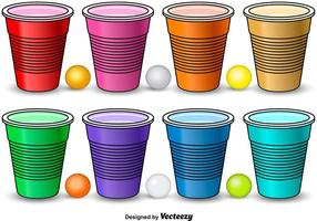 Colorful Beer Pong Elements vector