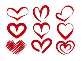 Red vector heart silhouettes