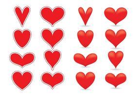 Vetores do coração vermelho