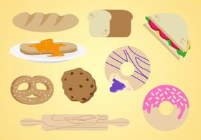 Bagel Bakery Elements Vector