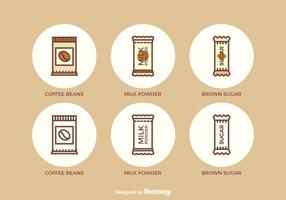 Free Flat Outline Sachet Vector Icons