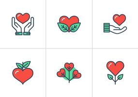 Heart Flat Linear Vector Icons