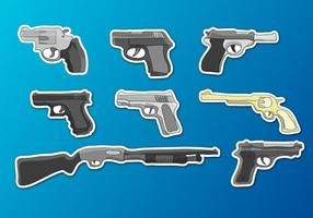 Glock Guns Set Illustrations Vector