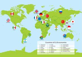 G20 Countries World Map Vector