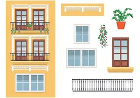 Yellow Building in Spain Vector