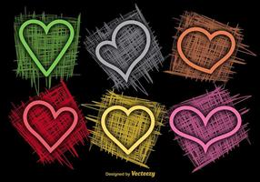 Colorful Sketchy Hearts Vectors