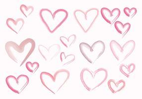 Corações de aquarela de vetor
