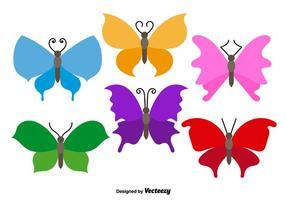 Vetores coloridos de borboletas planas