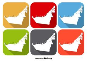 United Arab Emirates State Map Icon Vectors