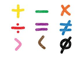Vecteurs de croquis de symboles mathématiques