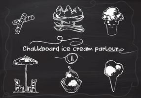 Free Hand Drawn Ice Cream definido no quadro-negro do quadro-negro