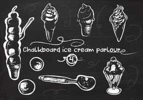 Free Hand Drawn Ice Cream Set på Tavlan Vector Bakgrund