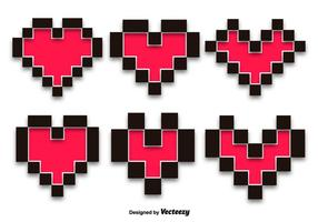 Pixel Hearts Vector Set