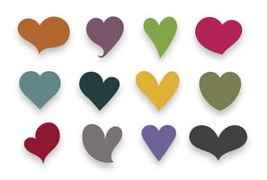 Corazones de colores conjunto de vectores
