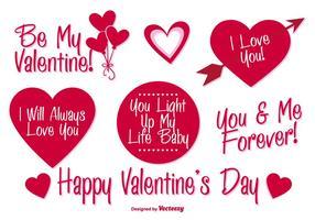Etiquetas del vector del día de tarjeta del día de San Valentín