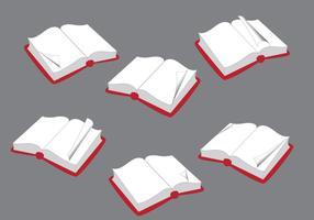 Geöffnete Bücher mit umgedrehten Seitenvektor