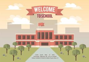 Fondo libre del vector del paisaje de la escuela
