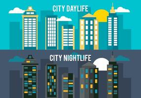 Flat City Life Vector Background