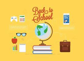 Vector libre de nuevo a la escuela