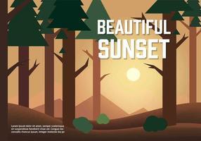 Freie Vektor Sonnenuntergang Illustration