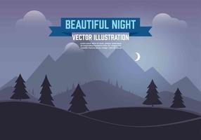 Gratis Vector Nacht Landschap Illustratie