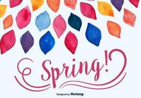 Watercolored Spring Leaves Vector Background