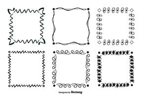 Conjunto de quadros vetoriais de estilo de rabisco desenhado a mão