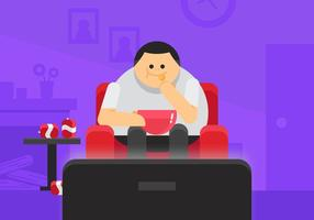 Overweight Guy Watching TV vector