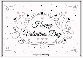Swirly Valentines Day Vector Background