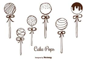 Handgetrokken Cake Pops Vectoren
