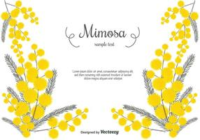 Handdragen Mimosa Vector Bakgrund