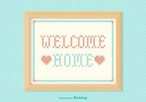 Free Welcome Home Stickerei Vektor