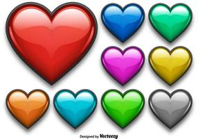 Colorful Shiny Heart Vector Set