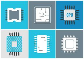 Vektor uppsättning av olika mikrochips