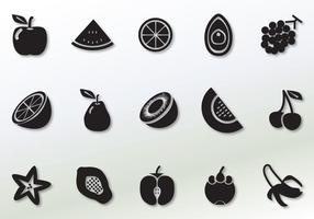 Icônes de vecteur de fruits solides