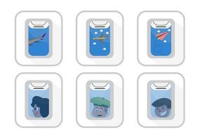 Ensemble vectoriel de vues de la fenêtre d'avion