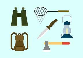 Ensemble vectoriel d'éléments de camping