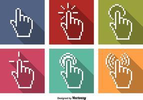 Vector Pixel ratón haga clic en iconos con la mano