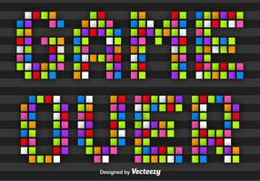 Colorful Pixel Game Over Message Vector
