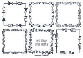 Ensemble de cadre de vecteur dessiné à la main