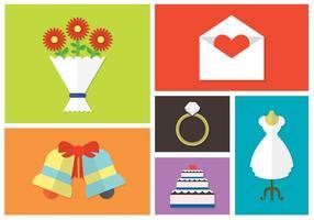 Conjunto de vetores de acessórios do dia do casamento