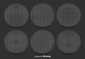 Vector Black and White Globe Grids