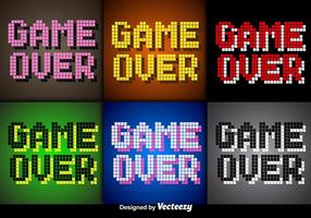Vector Pixel Game Over Screens for Video Games