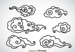 Black Outline Chinese Clouds Vector