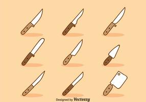 Cartoon Knife Sets Vector